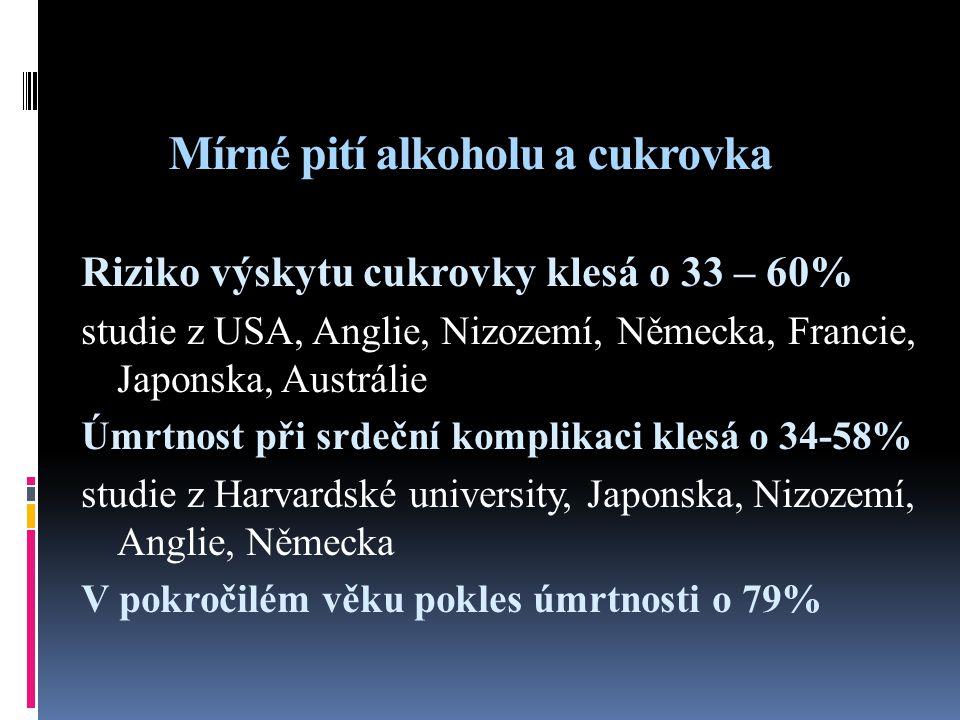 Mírné pití alkoholu a cukrovka
