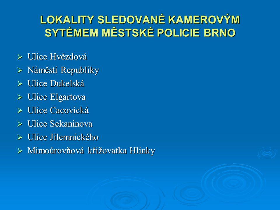 LOKALITY SLEDOVANÉ KAMEROVÝM SYTÉMEM MĚSTSKÉ POLICIE BRNO