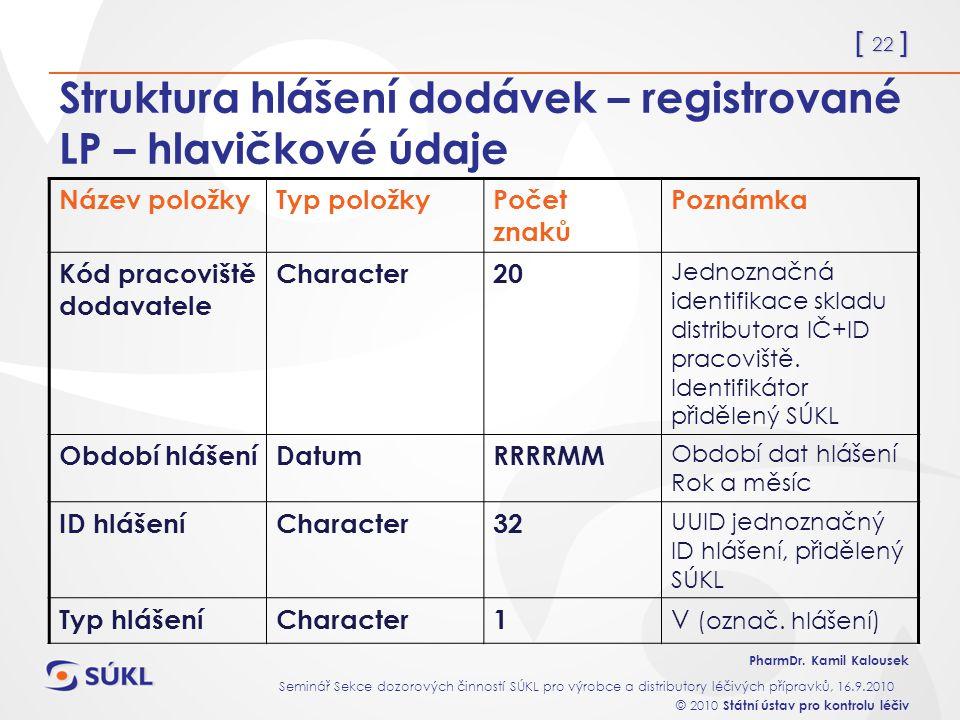 Struktura hlášení dodávek – registrované LP – hlavičkové údaje