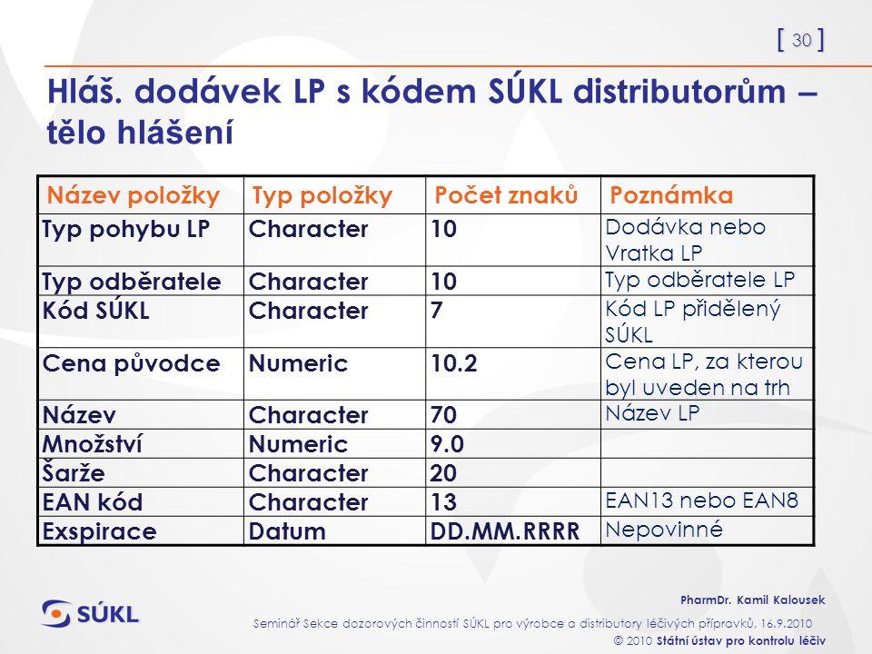 Hláš. dodávek LP s kódem SÚKL distributorům – tělo hlášení