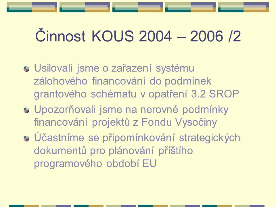 Činnost KOUS 2004 – 2006 /2 Usilovali jsme o zařazení systému zálohového financování do podmínek grantového schématu v opatření 3.2 SROP.