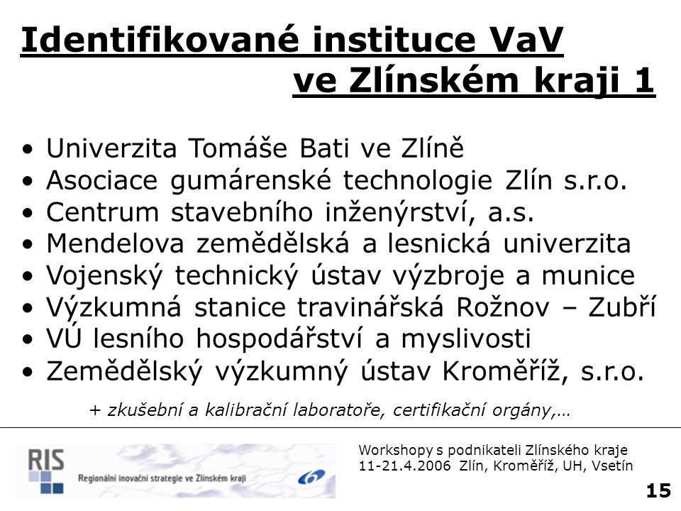 Identifikované instituce VaV ve Zlínském kraji 1