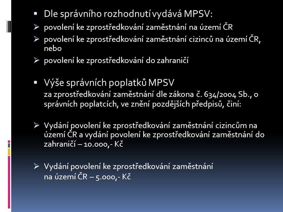 Dle správního rozhodnutí vydává MPSV: