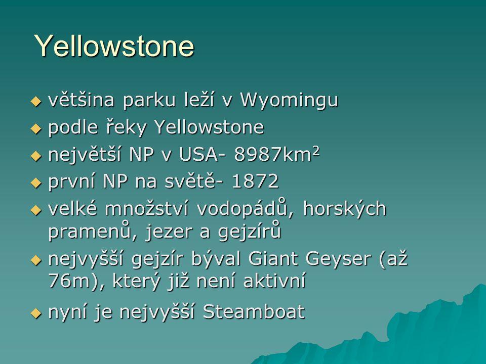 Yellowstone většina parku leží v Wyomingu podle řeky Yellowstone
