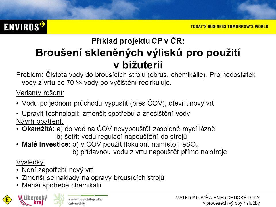 Příklad projektu CP v ČR: Broušení skleněných výlisků pro použití v bižuterii