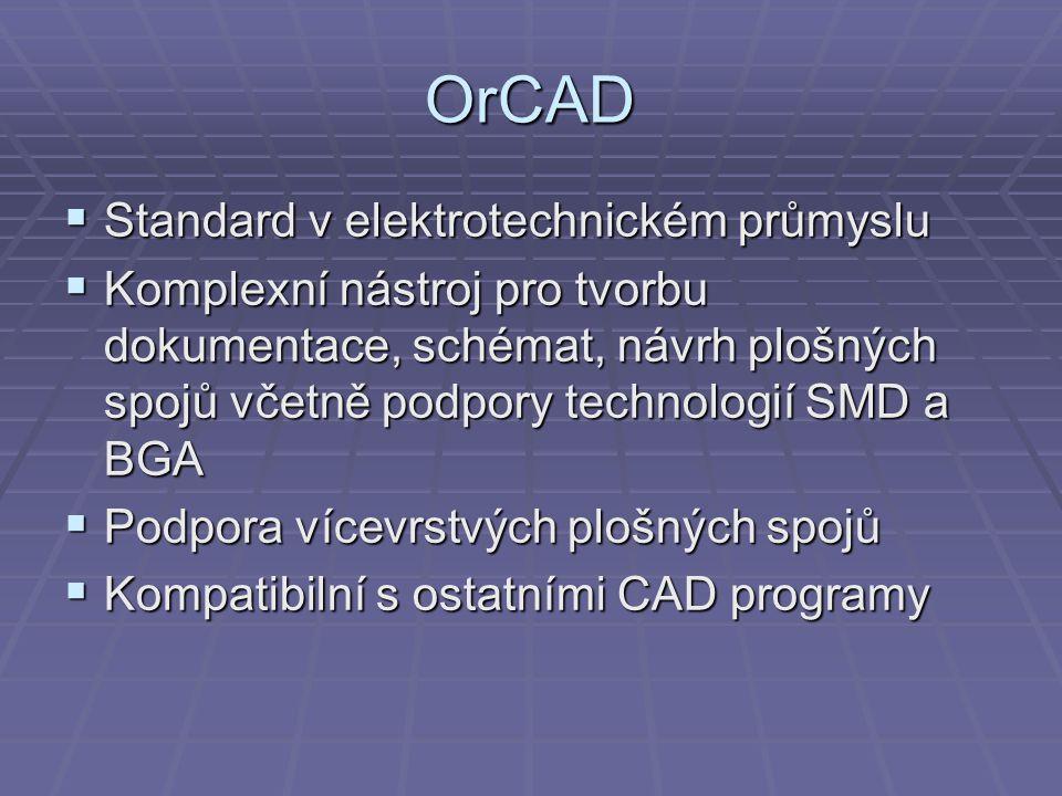 OrCAD Standard v elektrotechnickém průmyslu