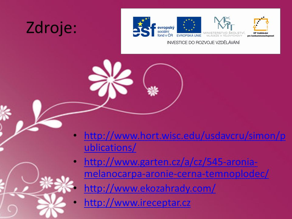 Zdroje: http://www.hort.wisc.edu/usdavcru/simon/publications/