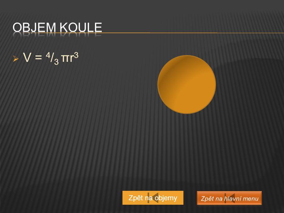 Objem koule V = 4/3 πr3 Zpět na objemy Zpět na hlavní menu