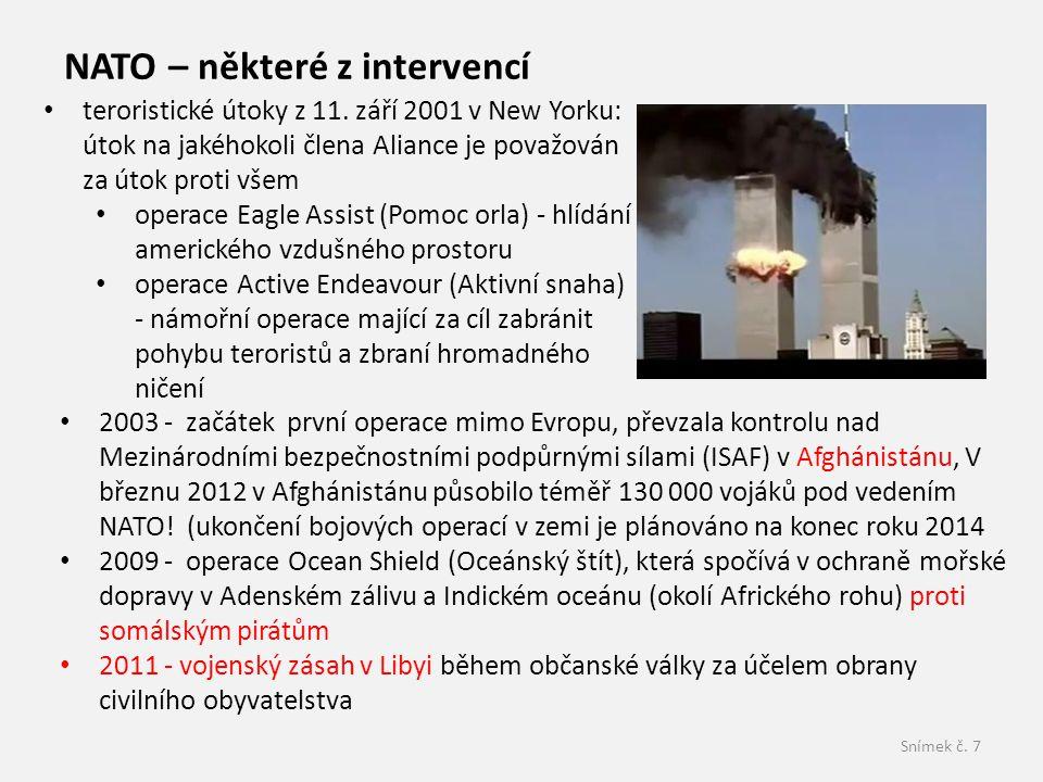 NATO – některé z intervencí