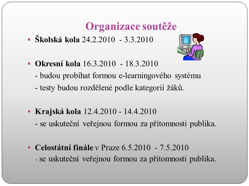 Organizace soutěže Školská kola 24.2.2010 - 3.3.2010