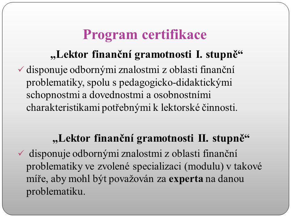 """""""Lektor finanční gramotnosti II. stupně"""