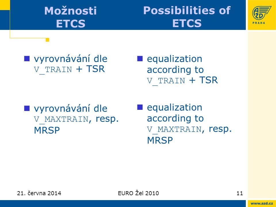 Možnosti ETCS Possibilities of ETCS