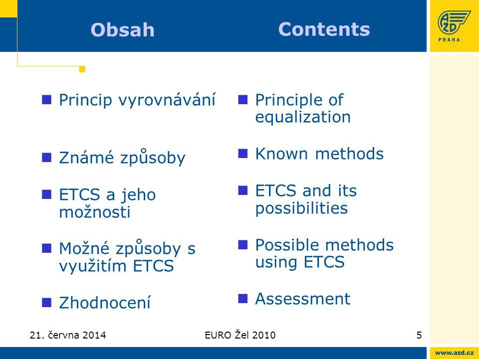 Obsah Contents Princip vyrovnávání Známé způsoby ETCS a jeho možnosti