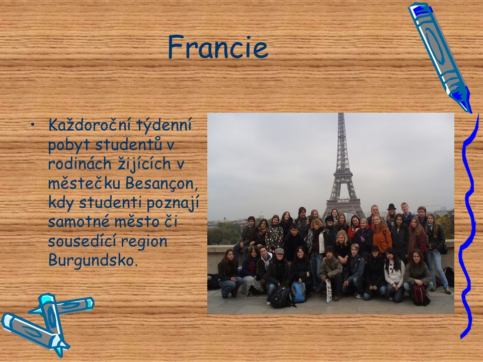 Francie Každoroční týdenní pobyt studentů v rodinách žijících v městečku Besançon, kdy studenti poznají samotné město či sousedící region Burgundsko.