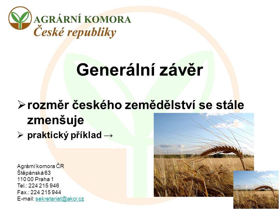 Generální závěr rozměr českého zemědělství se stále zmenšuje