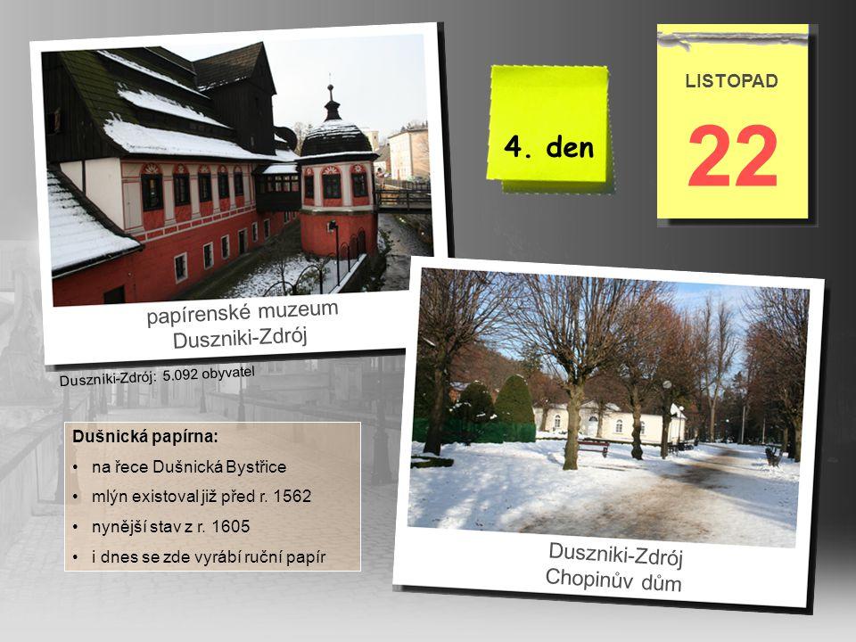 22 4. den papírenské muzeum Duszniki-Zdrój Duszniki-Zdrój Chopinův dům