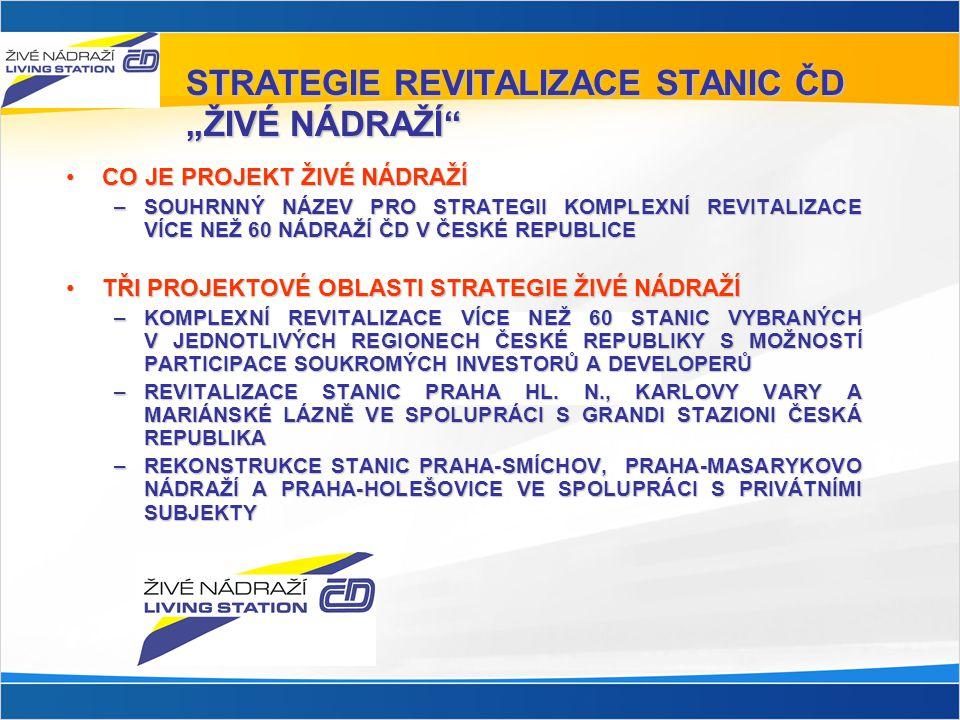 """STRATEGIE REVITALIZACE STANIC ČD """"ŽIVÉ NÁDRAŽÍ"""