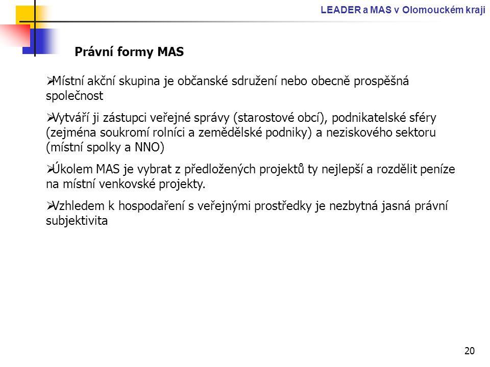LEADER a MAS v Olomouckém kraji