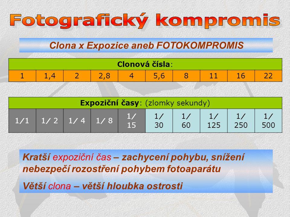 Fotografický kompromis Clona x Expozice aneb FOTOKOMPROMIS