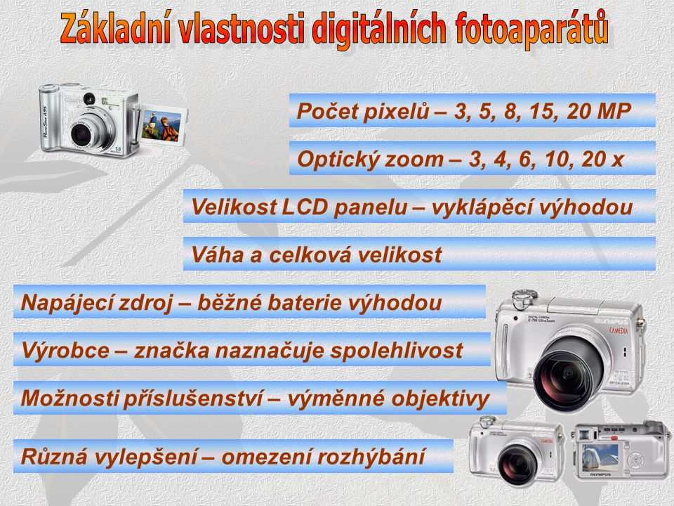 Základní vlastnosti digitálních fotoaparátů
