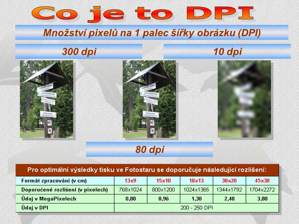 Množství pixelů na 1 palec šířky obrázku (DPI)
