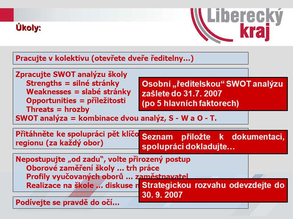"""Osobní """"ředitelskou SWOT analýzu zašlete do 31.7. 2007"""
