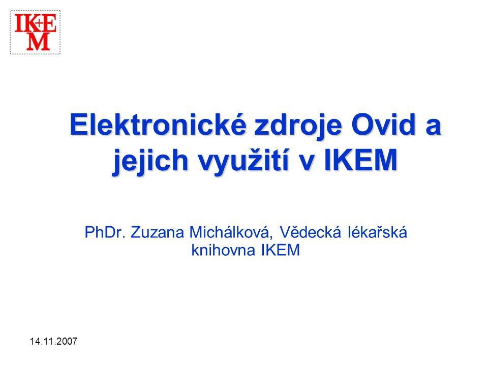 Elektronické zdroje Ovid a jejich využití v IKEM