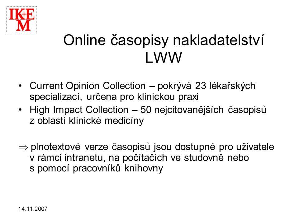 Online časopisy nakladatelství LWW