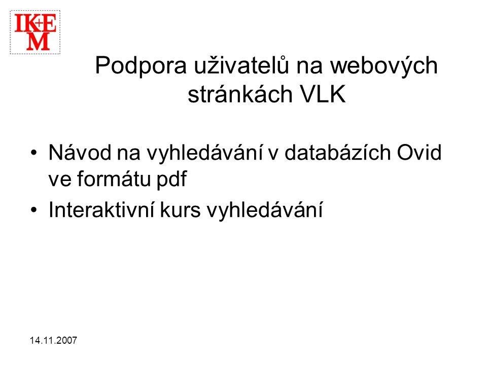 Podpora uživatelů na webových stránkách VLK
