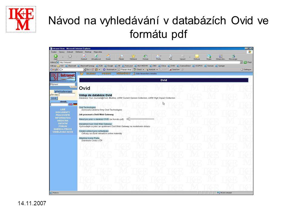 Návod na vyhledávání v databázích Ovid ve formátu pdf
