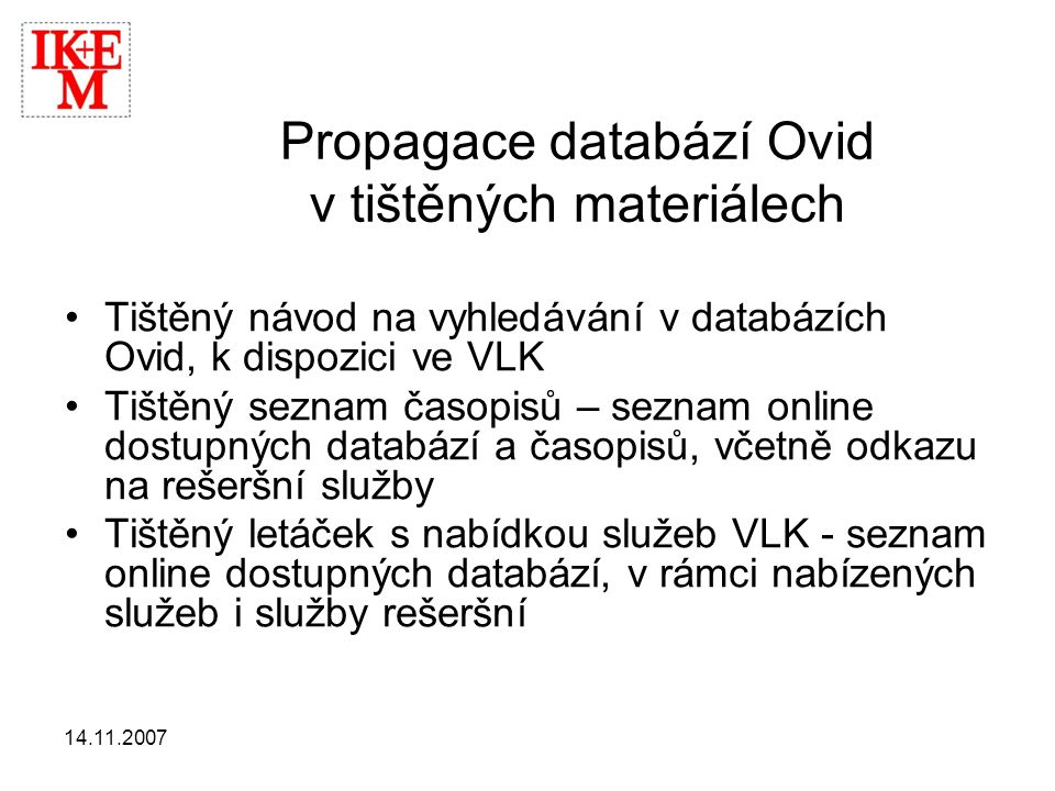 Propagace databází Ovid v tištěných materiálech