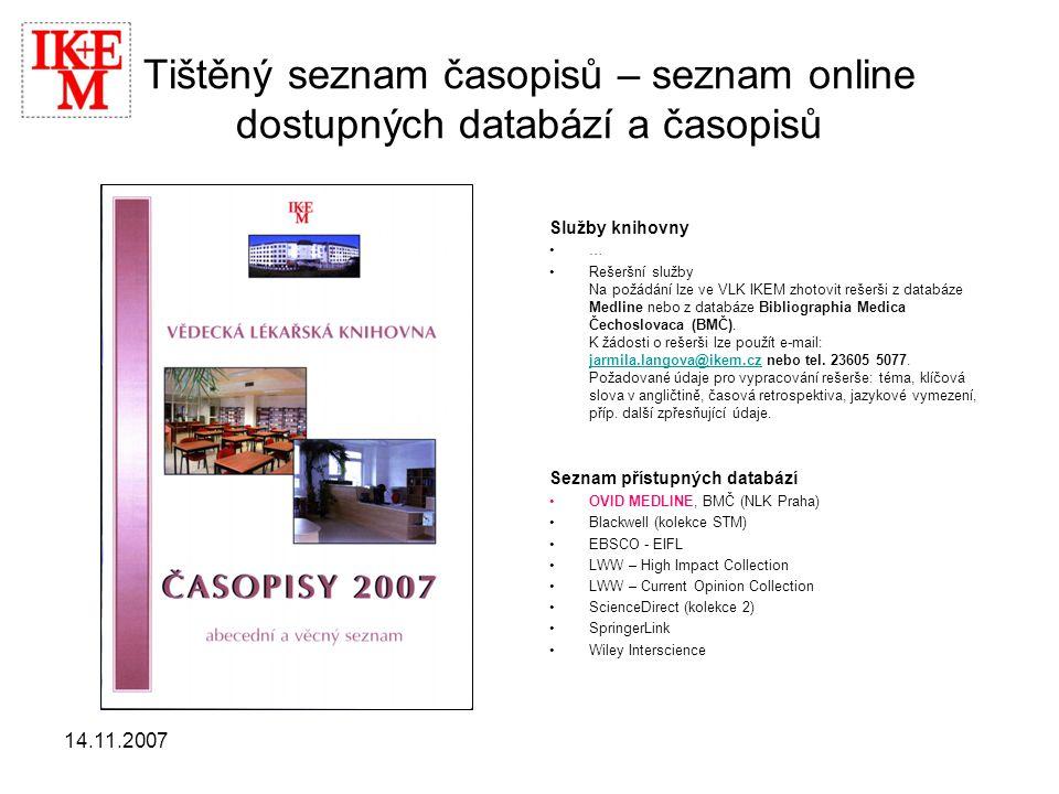Tištěný seznam časopisů – seznam online dostupných databází a časopisů