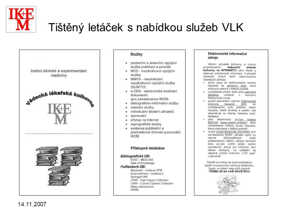 Tištěný letáček s nabídkou služeb VLK