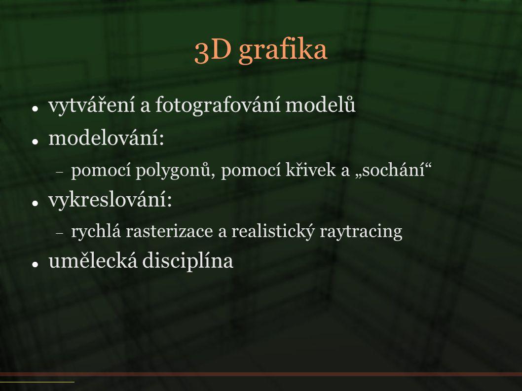3D grafika vytváření a fotografování modelů modelování: vykreslování: