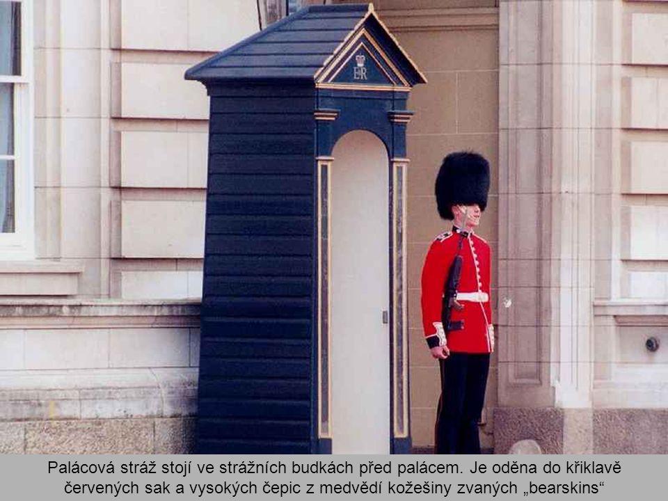 Palácová stráž stojí ve strážních budkách před palácem