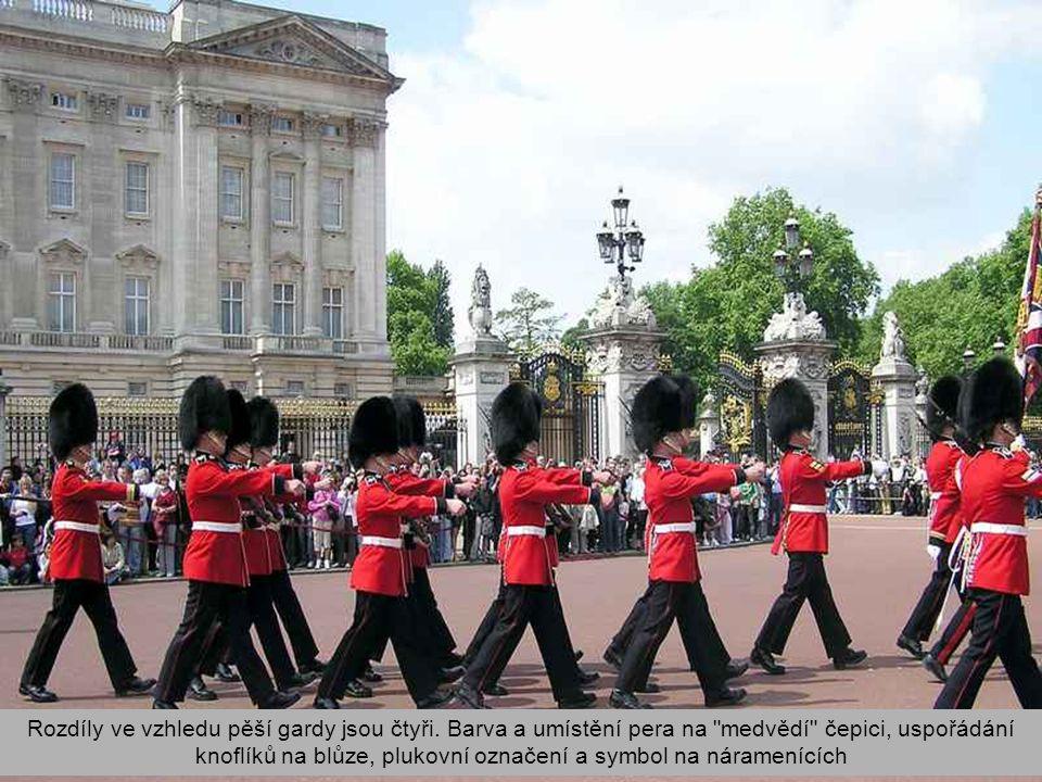 Rozdíly ve vzhledu pěší gardy jsou čtyři