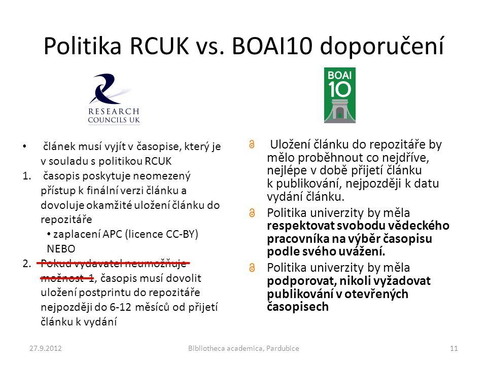 Politika RCUK vs. BOAI10 doporučení