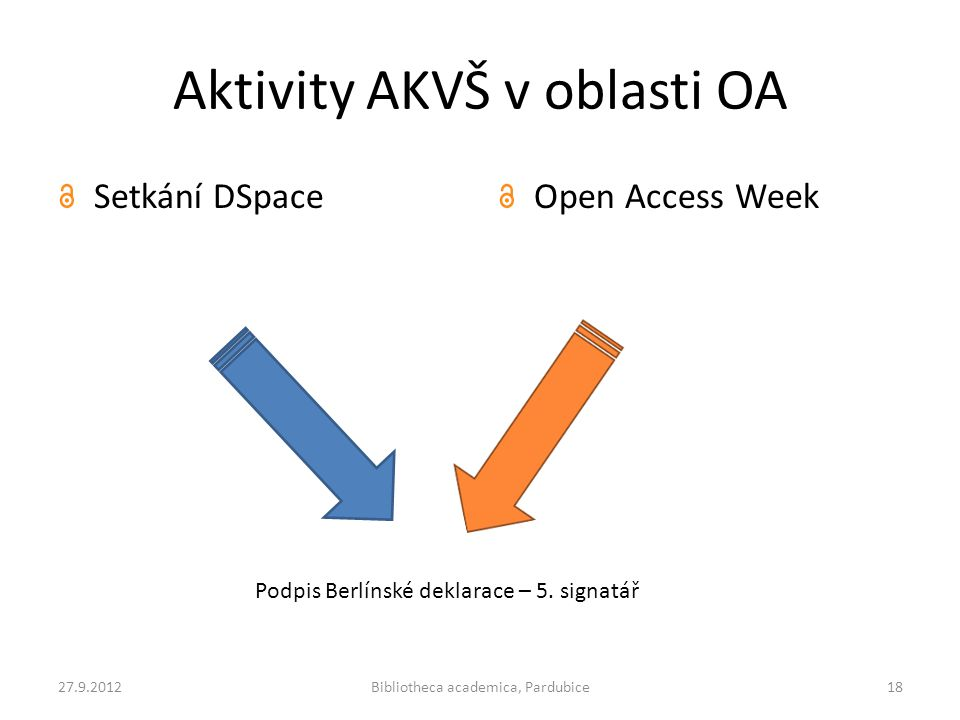 Aktivity AKVŠ v oblasti OA