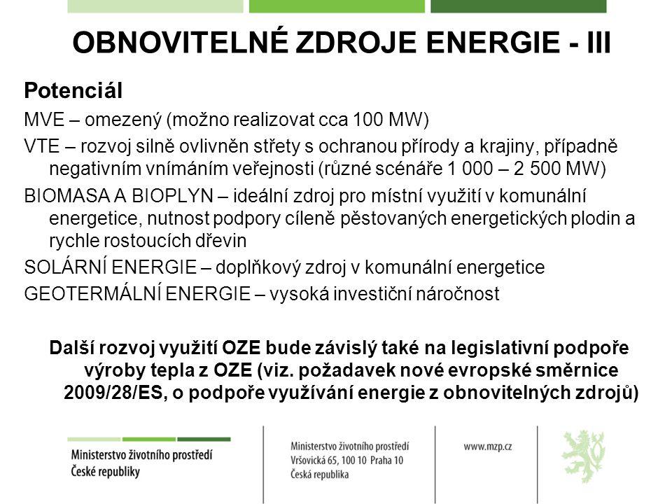 OBNOVITELNÉ ZDROJE ENERGIE - III