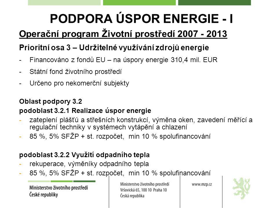 PODPORA ÚSPOR ENERGIE - I
