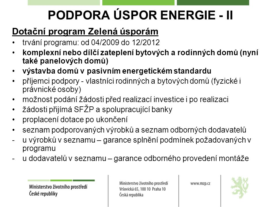 PODPORA ÚSPOR ENERGIE - II
