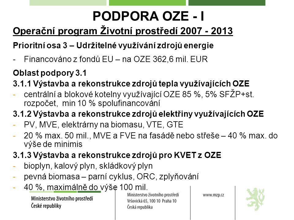 PODPORA OZE - I Operační program Životní prostředí 2007 - 2013