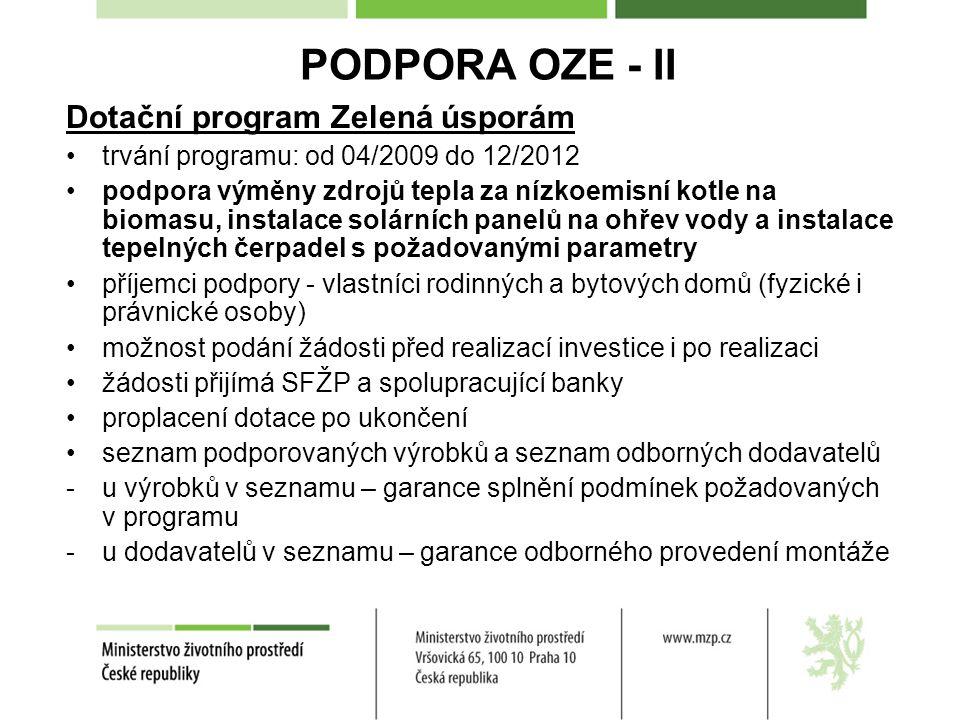 PODPORA OZE - II Dotační program Zelená úsporám