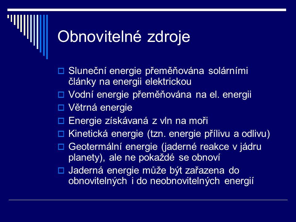 Obnovitelné zdroje Sluneční energie přeměňována solárními články na energii elektrickou. Vodní energie přeměňována na el. energii.
