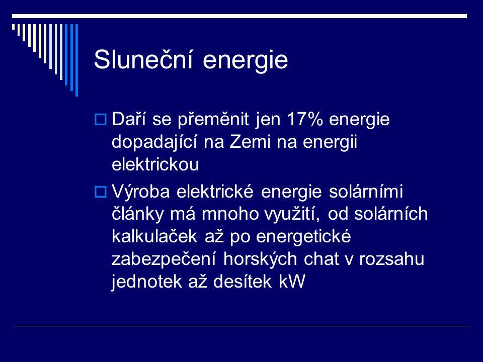 Sluneční energie Daří se přeměnit jen 17% energie dopadající na Zemi na energii elektrickou.