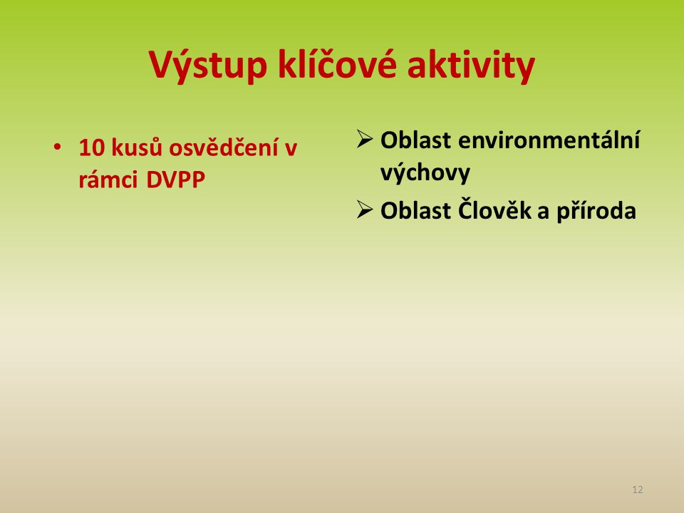 Výstup klíčové aktivity