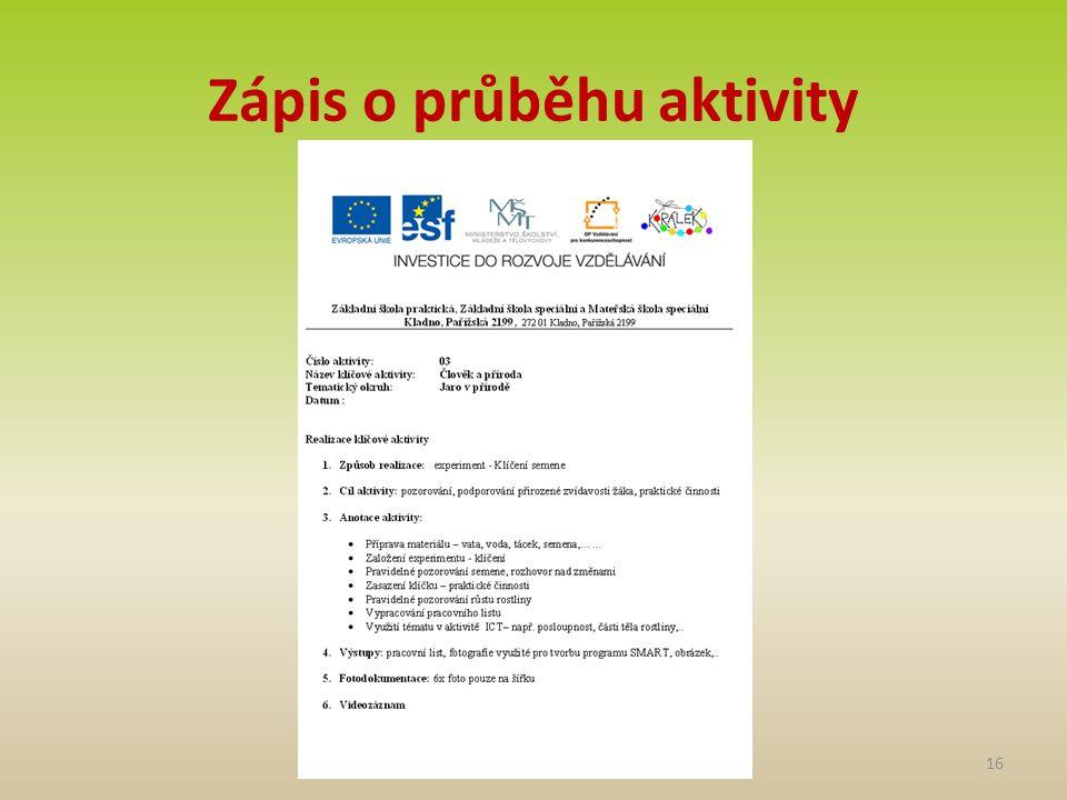 Zápis o průběhu aktivity