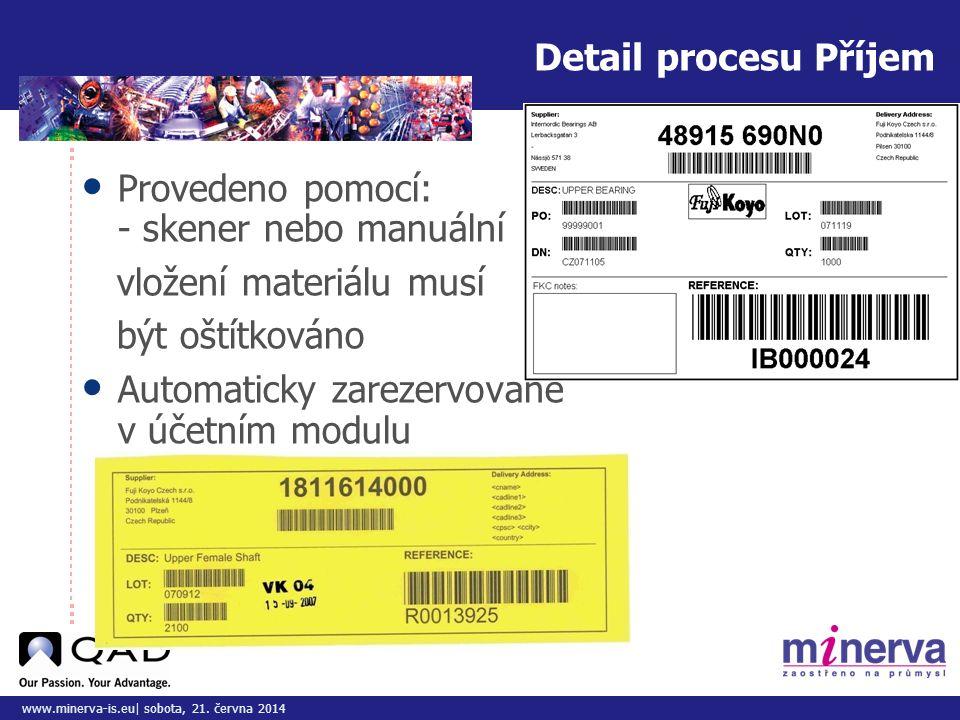 Detail procesu Příjem Provedeno pomocí: - skener nebo manuální. vložení materiálu musí. být oštítkováno.