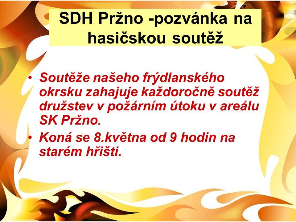SDH Pržno -pozvánka na hasičskou soutěž