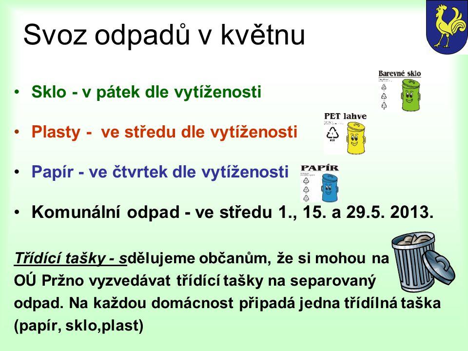 Svoz odpadů v květnu Komunální odpad - ve středu 1., 15. a 29.5. 2013.